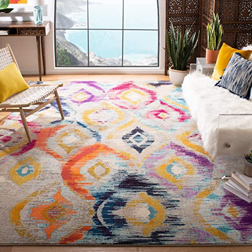 Safavieh Monaco Collection MNC242F Modern Geometric Ogee Watercolor Multicolored Distressed Area Rug 9' x 12'