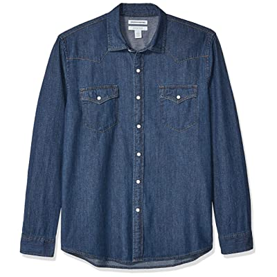 Essentials Men's Regular-fit Long-Sleeve Denim Shirt: Clothing