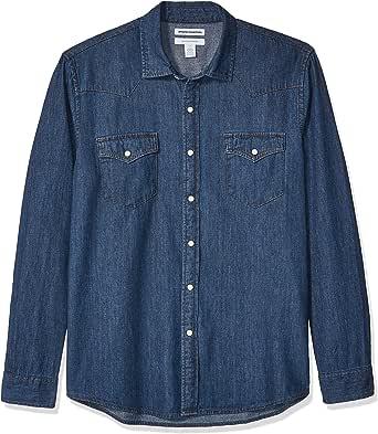 Amazon Essentials - Camisa tejana de manga larga y corte recto para hombre