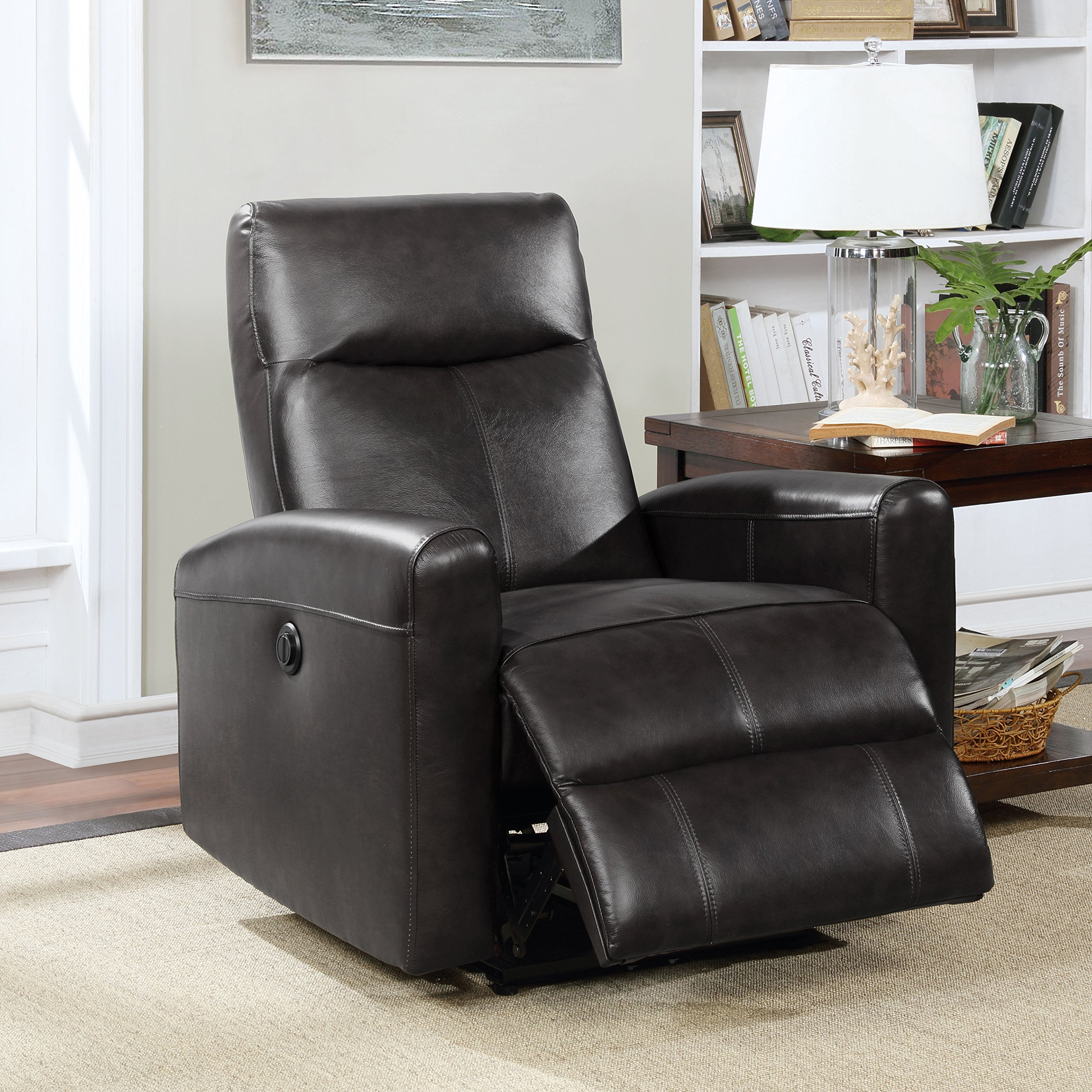 Christies Home Living Eli Collection Contemporary Leather Upholstered Living Room Electric Recliner Power Chair, Black