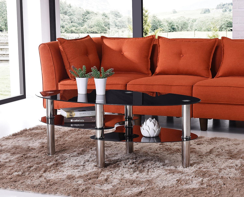 Amazon.com: Hodedah Three Tier Oval Tempered Glass Coffee Table, Black:  Kitchen U0026 Dining
