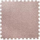 Teppich-Effekt ineinandergreifende Schaumstoffmatten - Perfekt zum Bodenschutz, für die Garage, das Training, Yoga, Spielzimmer - EVA Schaumstoff (9 Fliesen, Silber)