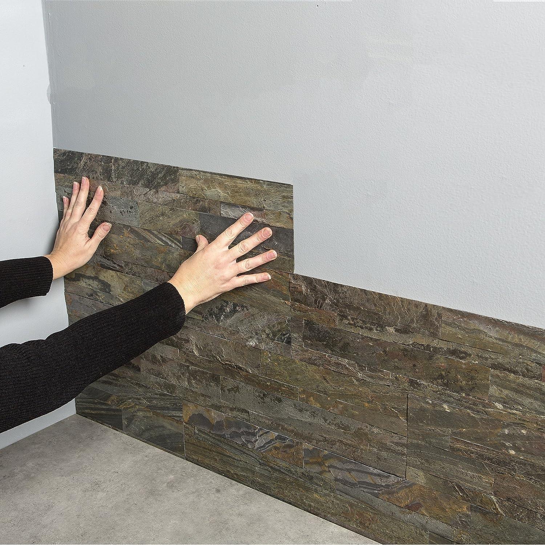 Aspect 6 x 24 inch autumn sandstone peel and stick stone backsplash - Amazon Com Aspect Peel And Stick Stone Overlay Kitchen Backsplash Medley Slate Approx 15 Sq Ft Kit Easy Diy Tile Backsplash Home Kitchen
