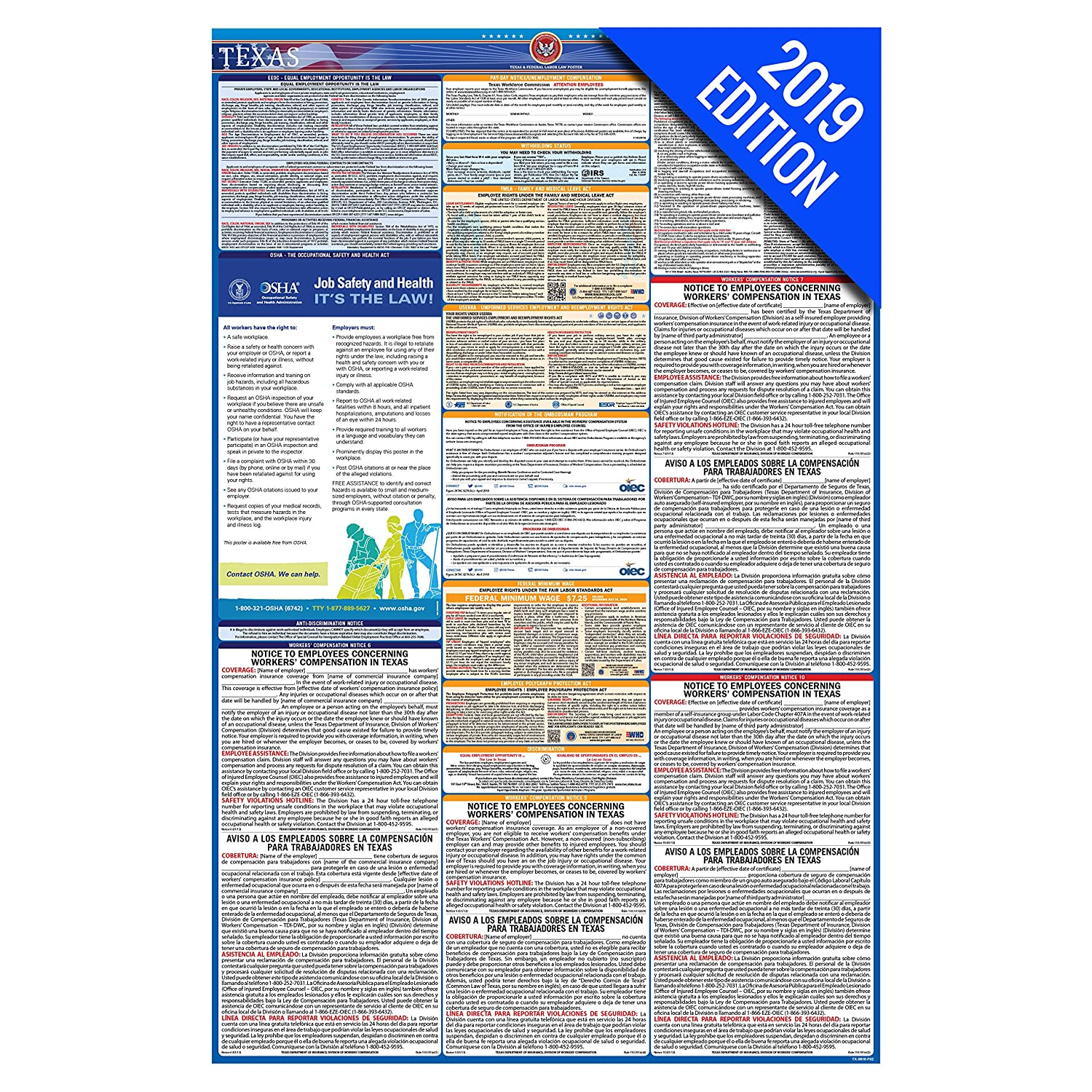 2019 Texas Labor Law Poster – State, Federal, OSHA Compliant – Single  Laminated Poster