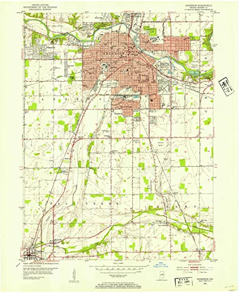 Map Of Anderson Indiana Amazon.: YellowMaps Anderson in topo map, 1:24000 Scale, 7.5 X