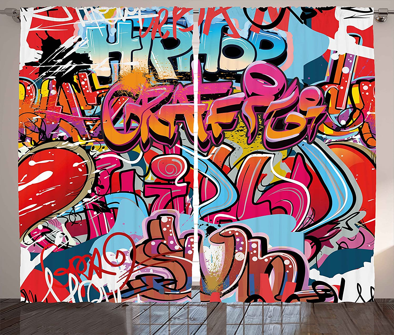 Ambesonne Graphic Curtains, Hip Hop Street Culture Harlem New York City Wall Graffiti Art Spray Artwork Image, Living Room Bedroom Window Drapes 2 Panel Set, 108