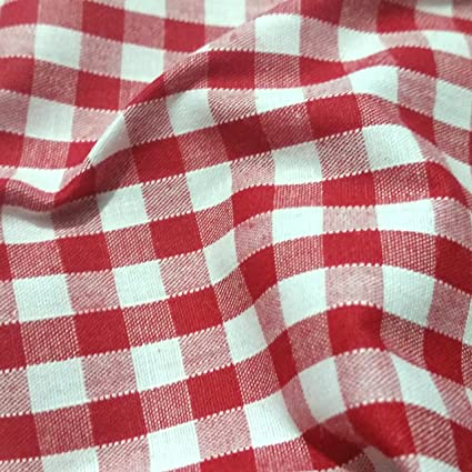 "LILAC 1/"" Gingham Check Poly Cotton Fabric Material 115cm wide"