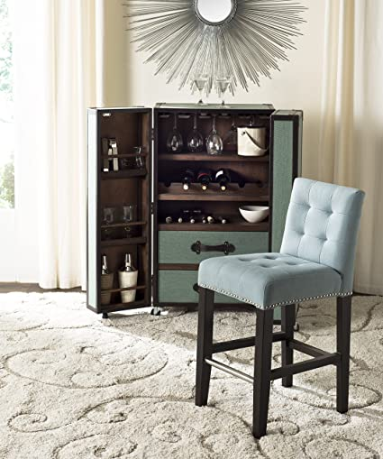 6c9e643a769 Image Unavailable. Image not available for. Color  Safavieh Mercer  Collection Thompson Sky Blue 25.8-inch Counter Stool