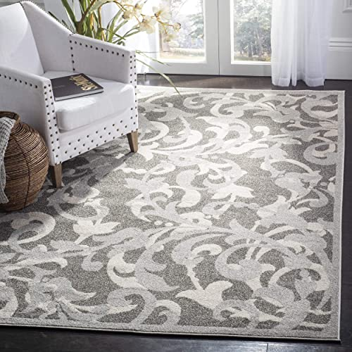 Safavieh Amherst Collection AMT428C Floral Scroll Area Rug, 8 x 10 , Grey Light Grey
