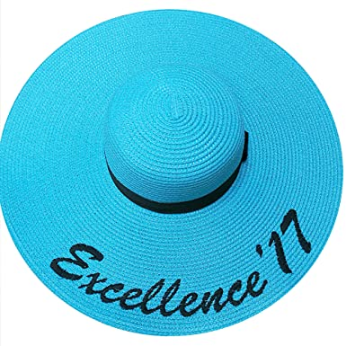 1a2dedc3 JewelryNanny Custom Womens Floppy Sun Straw Hat with Black Band - Embroider  Your Own Words,