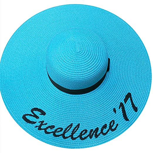 728b900201b JewelryNanny Custom Womens Floppy Sun Straw Hat with Black Band - Embroider  Your Own Words