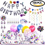 Birthday Party Decoration Children's Theme Assorted Set - Silver Letter Star & Colorful Balloons, Confetti, Banner, Cup, Tablecloth, Napkin, Plates, Flags, Trumpets 100PCs
