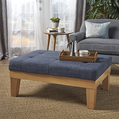 Christopher Knight Home Gerstad Ottoman Coffee Table Mid Century, Danish, Modern Styling Upholstered in Dark Blue Fabric