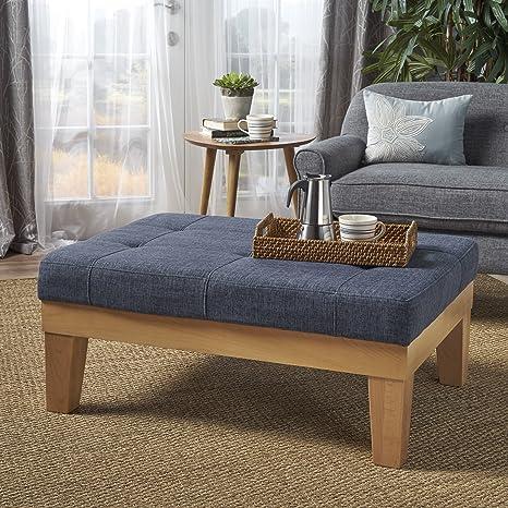 Swell Gdfstudio 302138 Gerstad Ottoman Coffee Table Mid Century Danish Modern Styling Upholstered In Dark Blue Fabric Ibusinesslaw Wood Chair Design Ideas Ibusinesslaworg