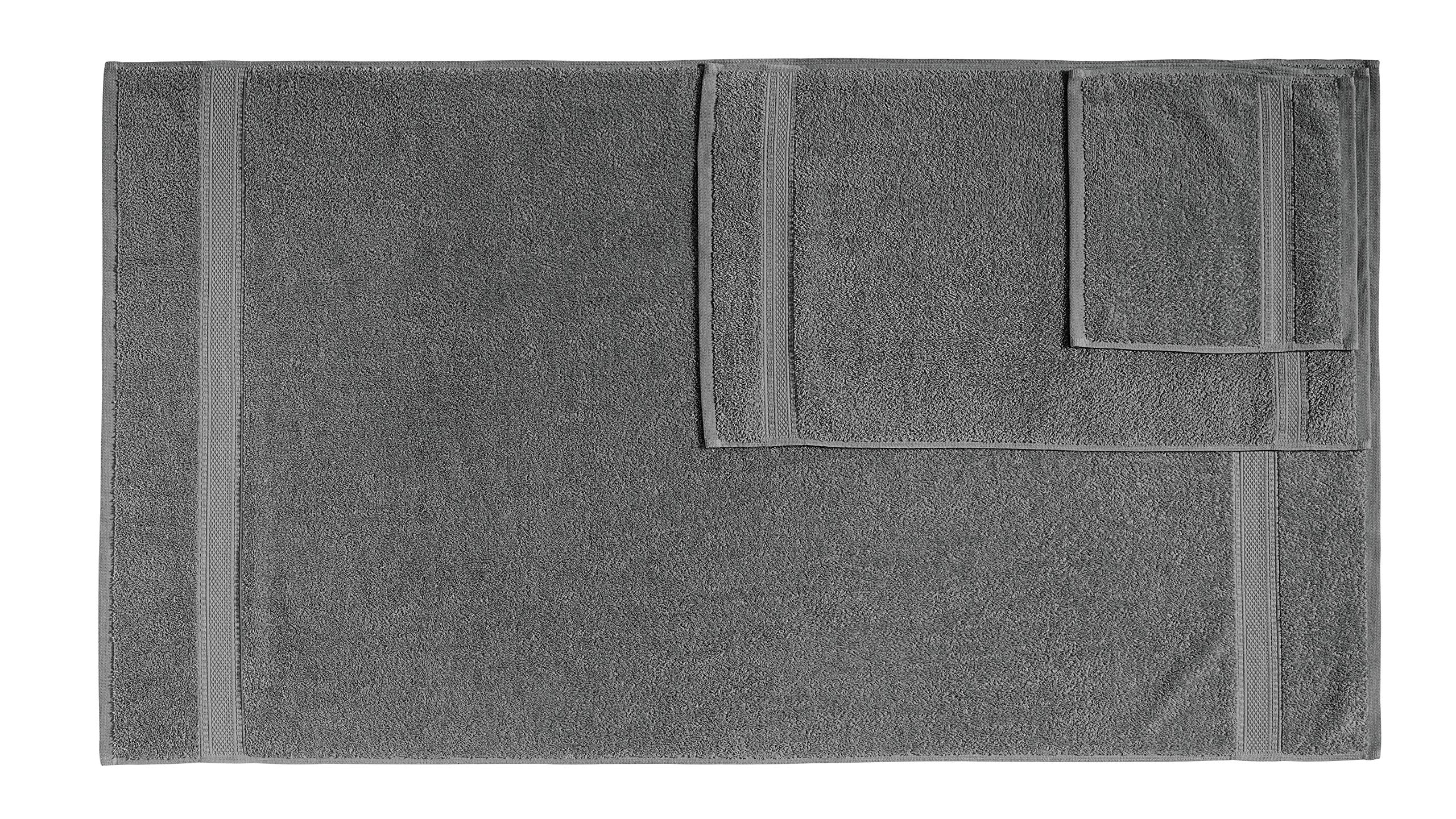 100% Cotton 6-Piece Towel Set (Dark Grey): 2 Bath Towels, 2 Hand Towels and 2 Washcloths, Classic Amercian Construction, Soft, Highly Absorbent, Machine Washable