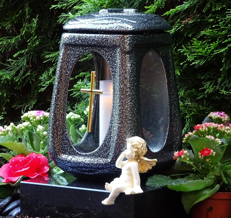 /♥ Grablaterne Grablicht Keramik Silber Glas Kreuz mit Grabkerze Grablampe Grabschmuck Grableuchte Laterne Grabkerze Lampe Kerze Licht Friedhof Garten