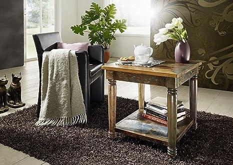 Legno antico laccato multicolore legno massello tavolino da