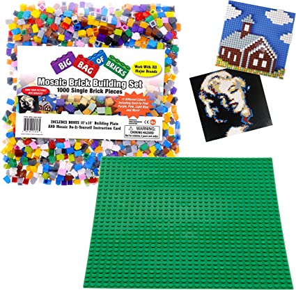 "Variety Pack Large 10/"" x 10/"" Stackable Baseplate SCS Direct Building Bricks"