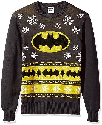 dc comics batman mens batman bat signal ugly christmas sweater charcoal small
