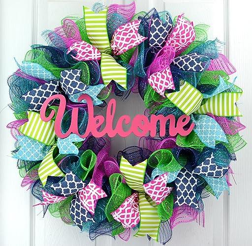 Everyday Door Wreath | Summer Spring Wreath | Outdoor Wreath | Pink  Turquoise Navy Blue Green