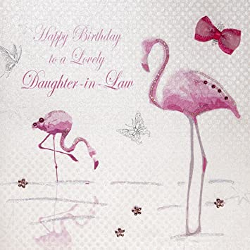 WHITE COTTON CARDS Happy Lovely Daughter In Law Handmade Birthday Card Pink