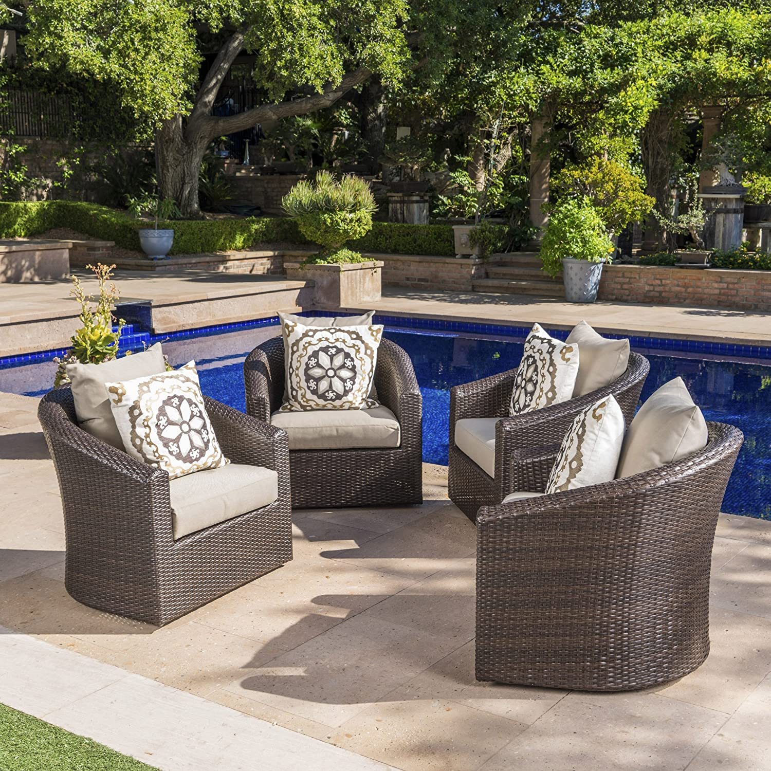 Dillard Outdoor Aluminum Framed Mix Brown Wicker Swivel Club Chair with Water Resistant Cushions Set o f4, Mix Khaki