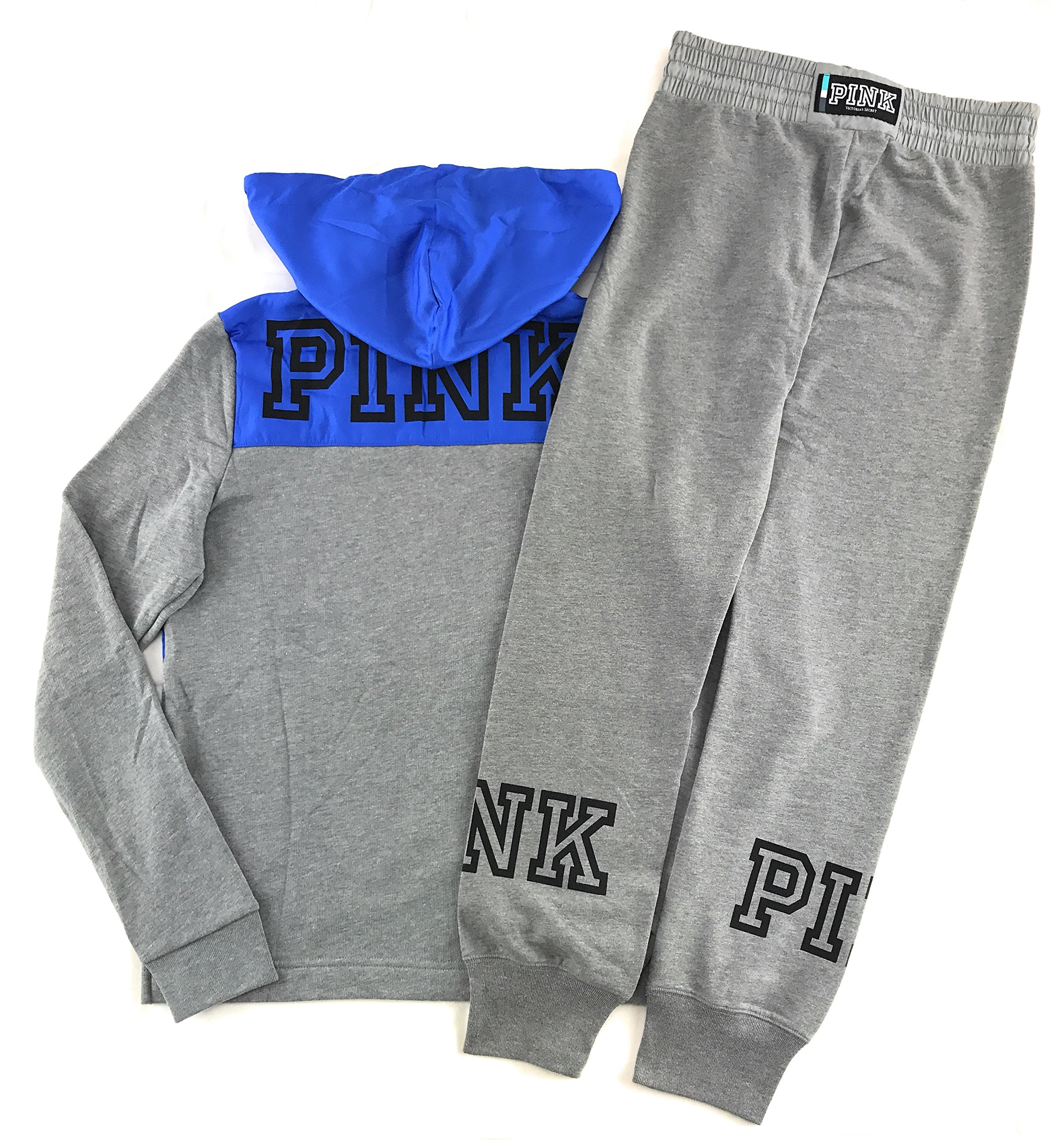 Victoria's Secret Pink Hoodie and Sweat Pants Set Clay Grey/Vivid Blue Medium