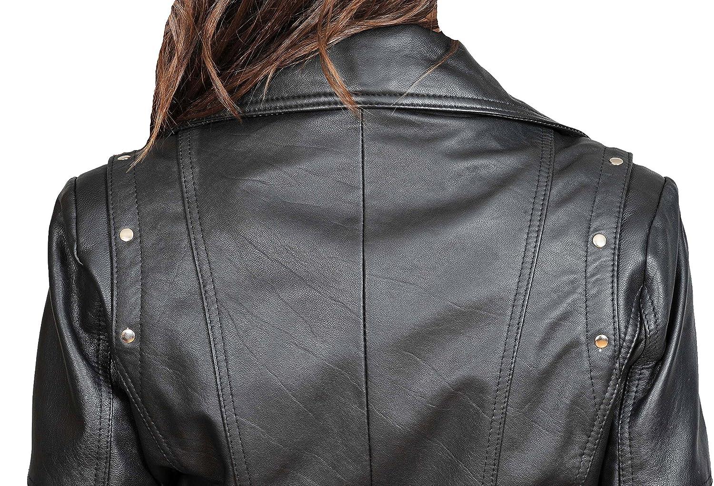 Trendy Womens Fitted Biker Style Leather Jacket Latest Black Zipper Coat Jessica
