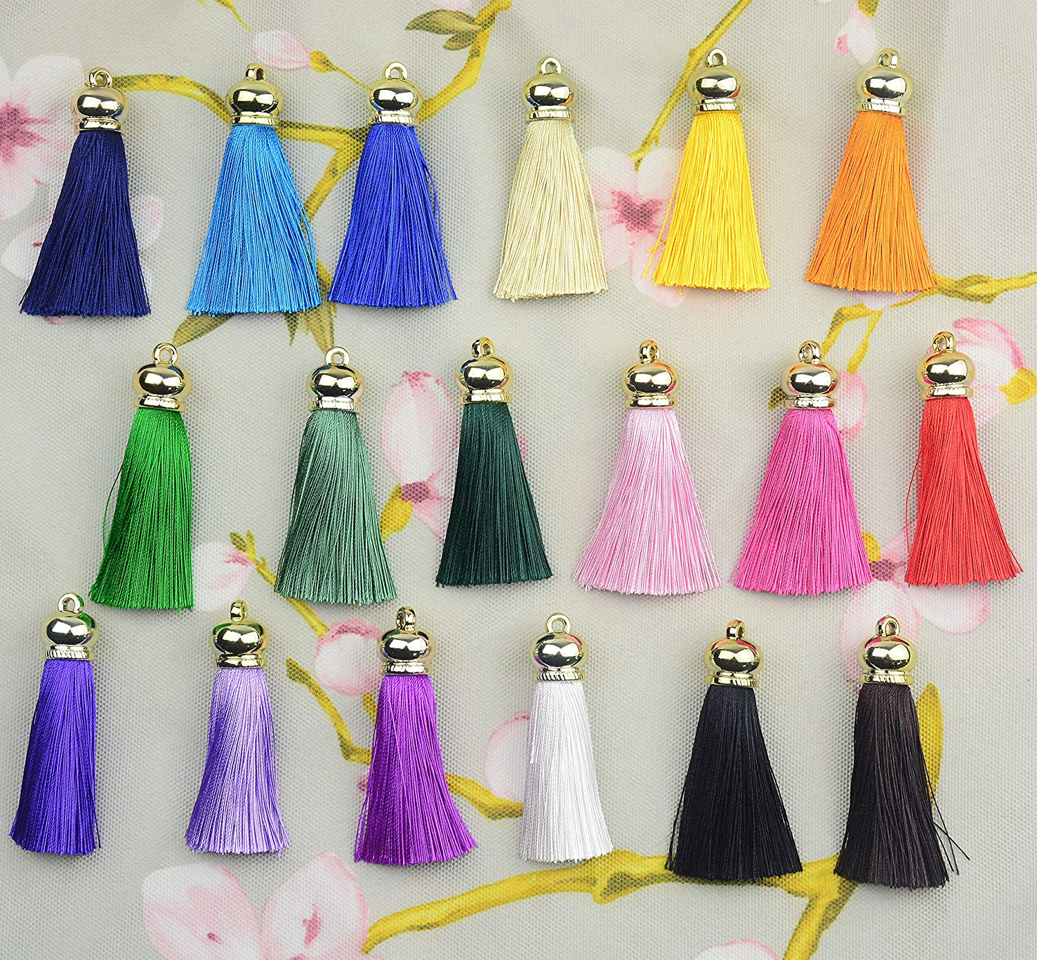 Gold Series Mixed 18 Colorful 6cm//2.4 inch Handmade Chunky Imitation Silk Craft Jewelry Tassels with Gold Cap Jewelry Pendant Crafts