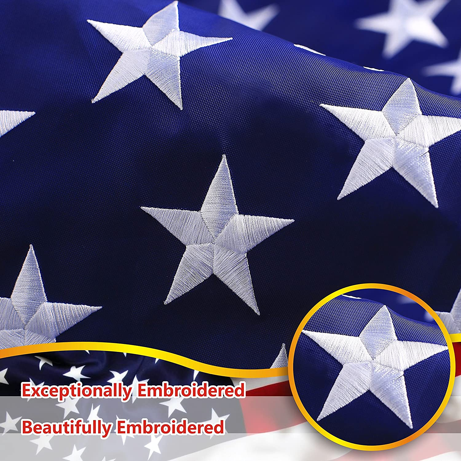 G128 - American USA US Flag 2x3 ft Deluxe Embroidered Stars Sewn Stripes Brass Grommets Durable Oxford 240D Polyester Indoor or Outdoor Use G128 LLC G128-FLG-210D-2x3ft