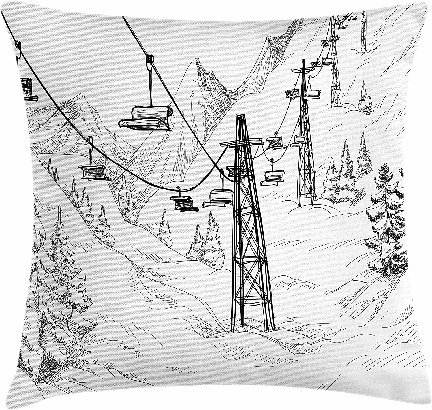 White and Black 16 X 16 Lunarable Winter Throw Pillow Cushion Cover Ski Lift with Fir Trees Monochrome Seasonal Holiday Destination Themed Sketch Decorative Square Accent Pillow Case
