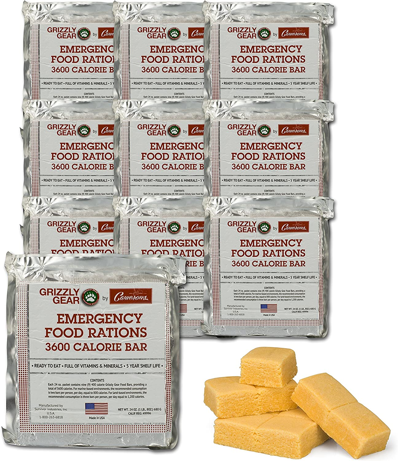 Emergency Food Rations Case of 10-3600 Calorie Bars - 30 Day Supply- Less Sugar and More Nutrients Than Other Leading Brands- (5 Year Shelf Life)