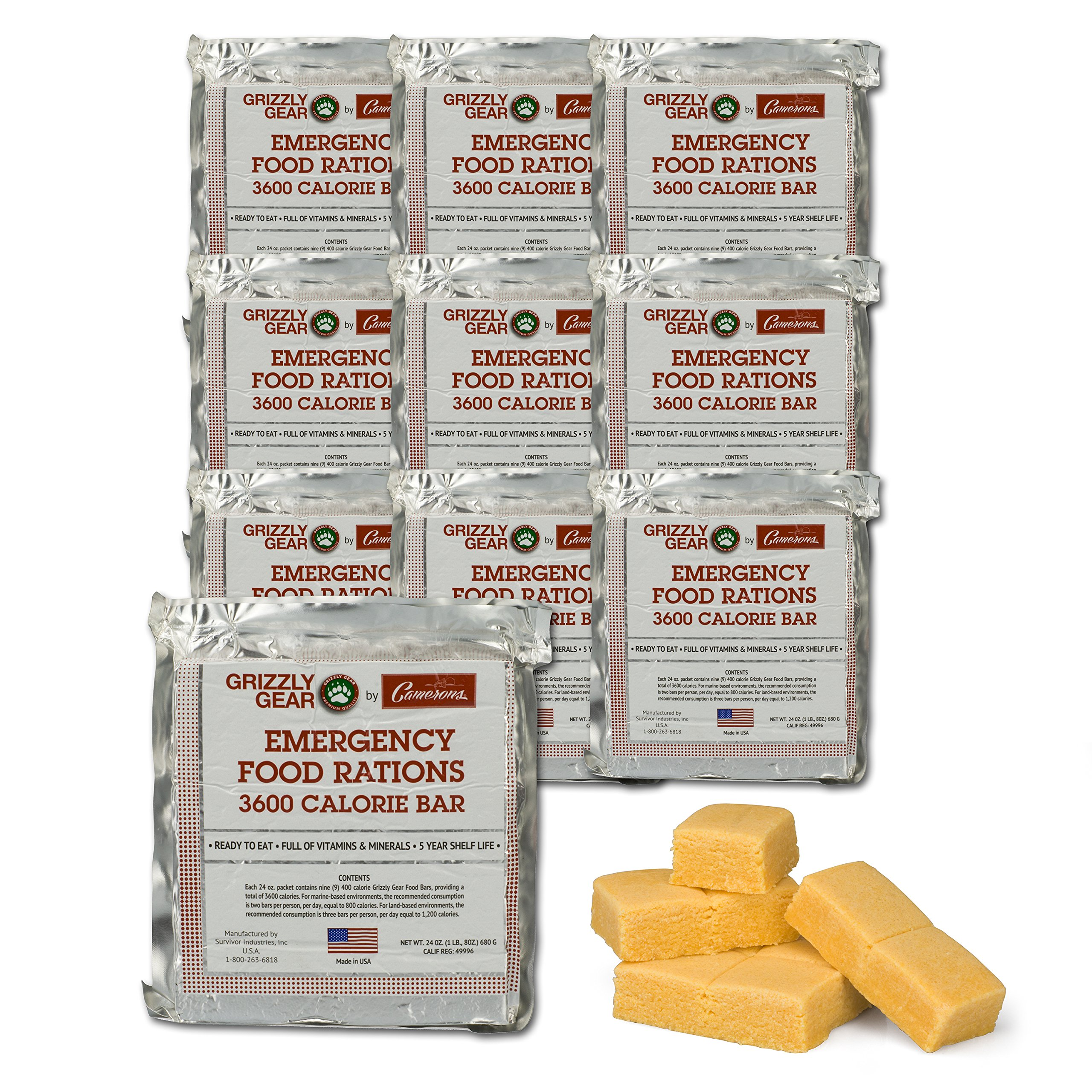 Emergency Food Rations Case of 10-3600 Calorie Bars - 30 Day Supply- Less Sugar and More Nutrients Than Other Leading Brands- (5 Year Shelf Life) by Grizzly Gear