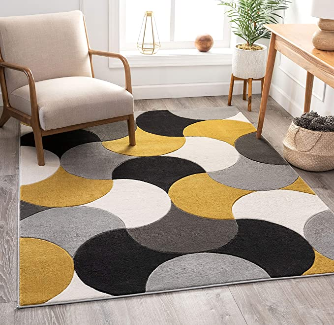 Amazon Com Well Woven Good Vibes Helena Gold Modern Geometric Shapes 7 10 X 10 6 3d Texture Area Rug Furniture Decor