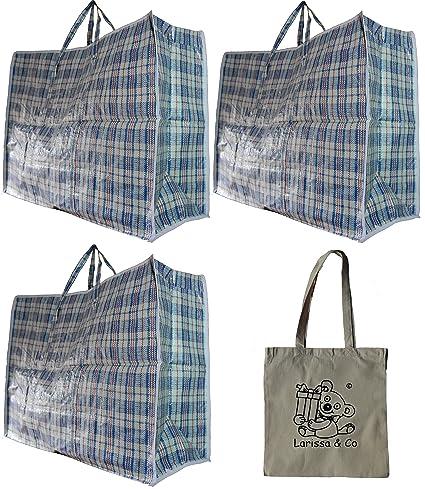 3 bolsas muy grandes, para la colada, mudanza y almacenamiento, con cremallera