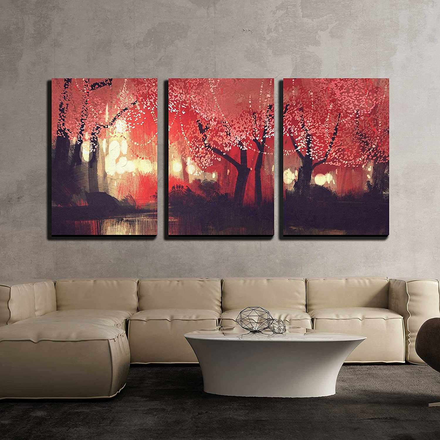 wall   piece canvas wall art  night scene of autumn forestfantasylandscape painting  modern home decor stretched and framed ready to hang. wallcom  art prints  framed art  canvas prints  greeting