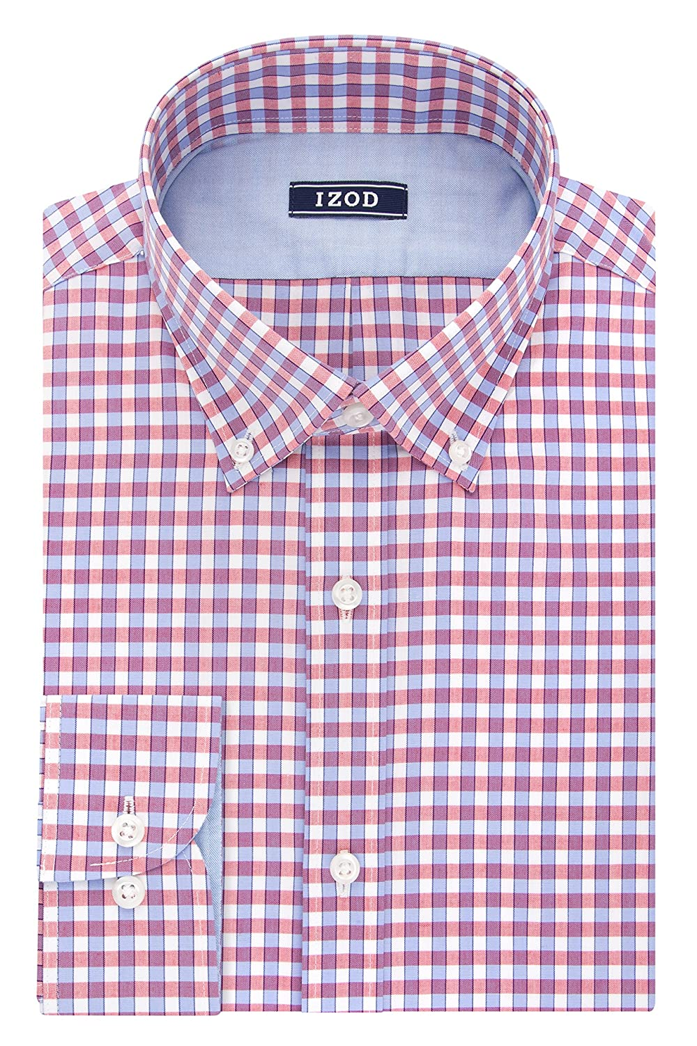 IZOD Men's Slim Fit Check Button Down Collar Dress Shirt