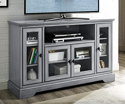 WE Furniture 52u0026quot; Wood Highboy Style Tall TV Stand   Antique Grey