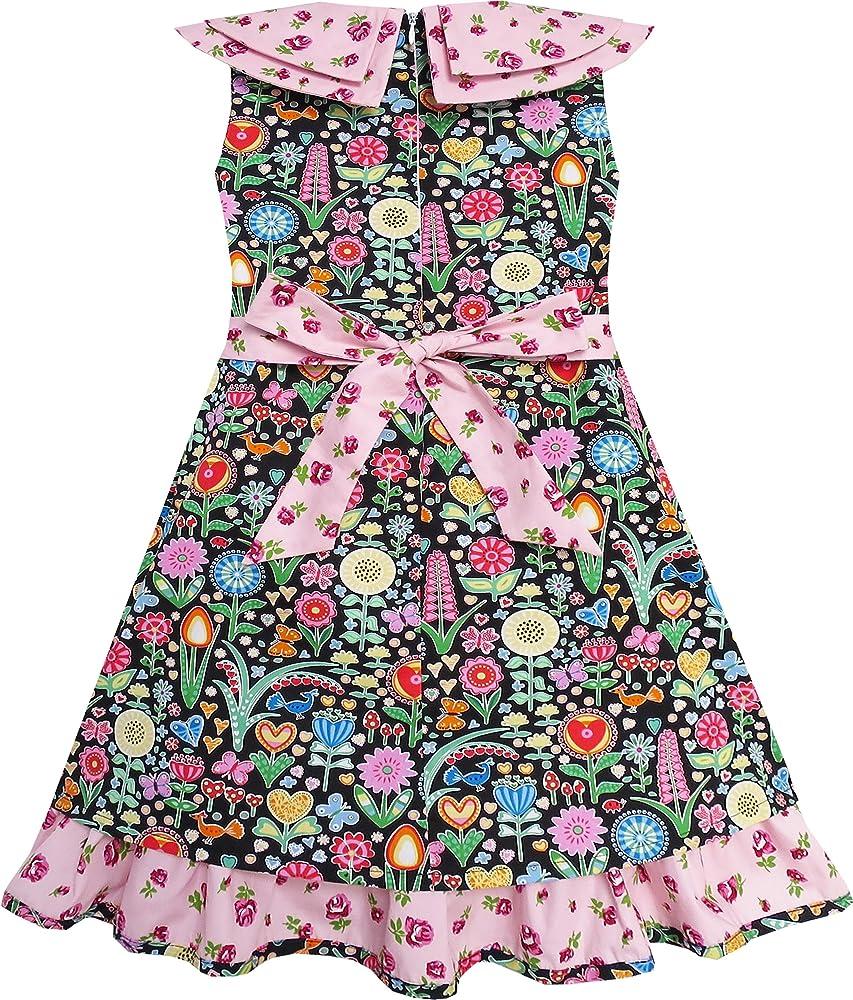 Sunny Fashion Vestido para niña Corbata de moño Rosa Floral ...