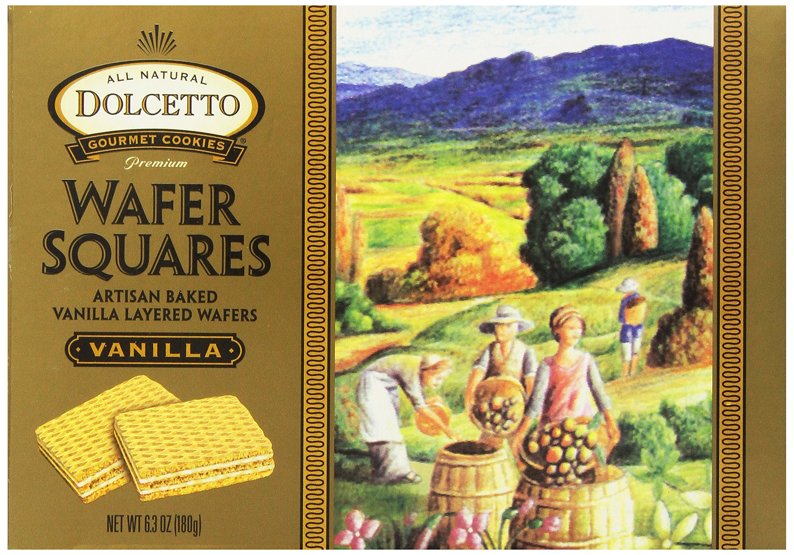 Dolcetto All Natural Wafer Squares, Vanilla, 6.3 Ounce (Pack of 12)
