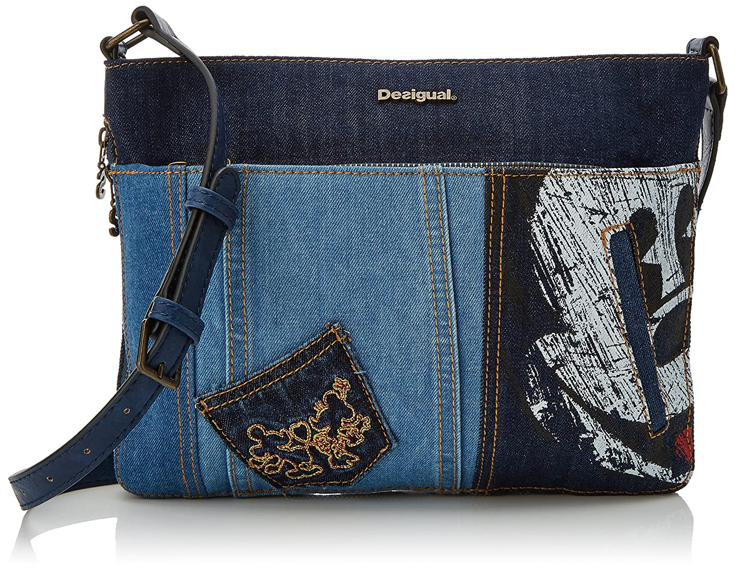 Desigual Bols_exotic Mickey Baqueira, Womens Cross-Body Bag, Blue (Denim Dark Blue), 2x23x30.5 cm (B x H T)