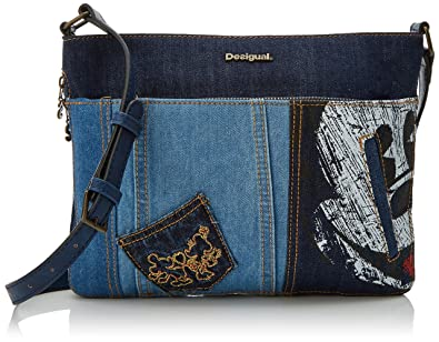 Desigual Bols_exotic Mickey Baqueira, Womens Cross-Body Bag, Blue (Denim Dark Blue