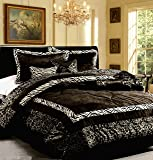 Dovedote 7 Piece Safari Zebra Animal Print Comforter Set, Queen, Black White