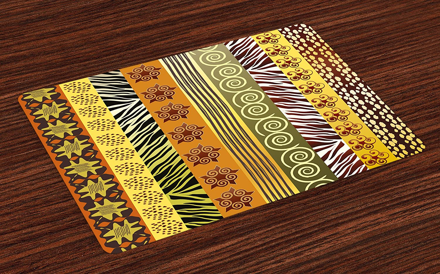 Lunarable Tribal Place Mats Set of 4, Abstract Artistic African Style Ethnic Theme Vertical Borders Illustration, Washable Fabric Placemats for Dining Room Kitchen Table Decoration, Mustard Sage Green