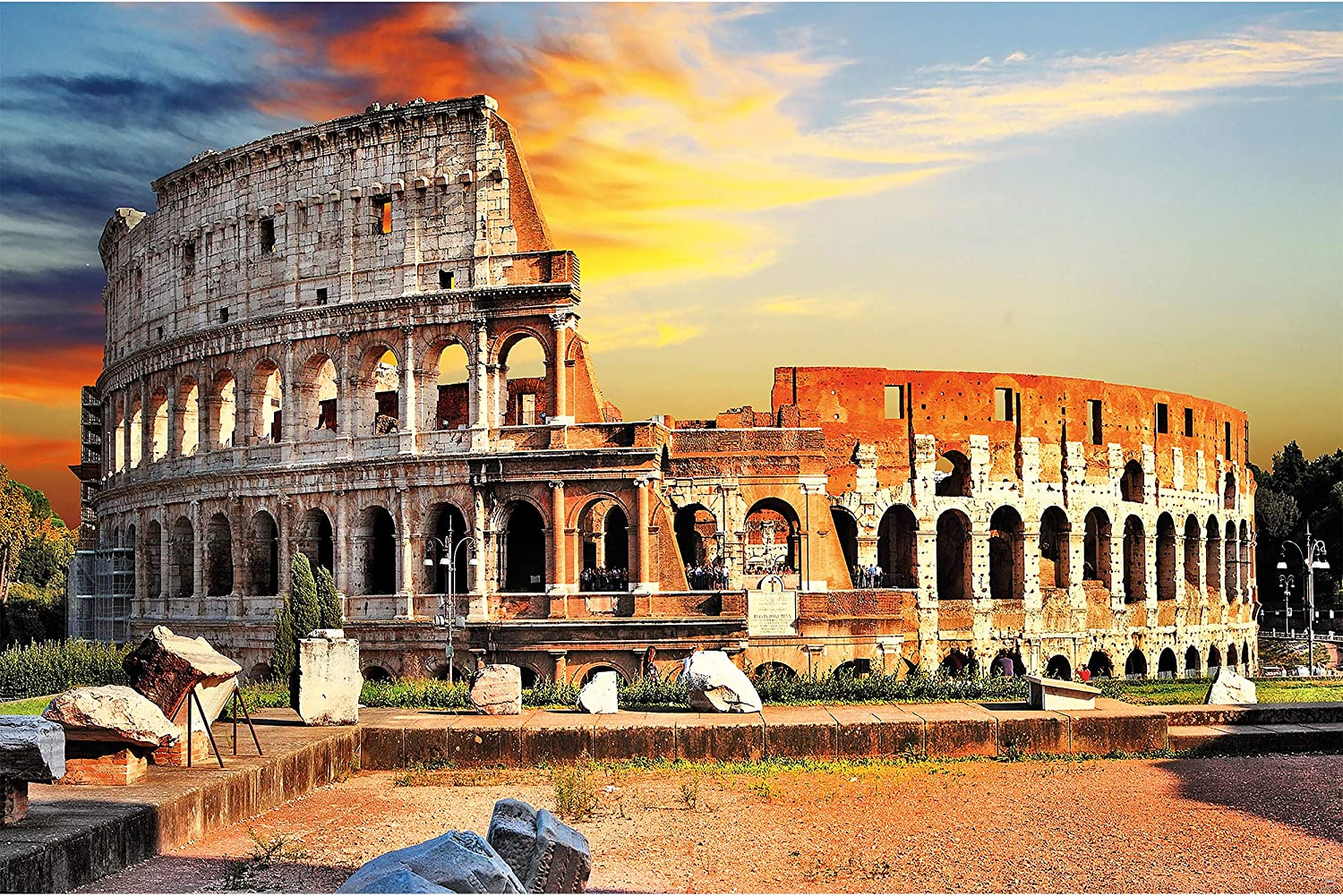 GREAT ART Poster – Rome Amphitheater Italy – Picture Decoration Landmark Ancient Coliseum Historical Site Architecture Gladiator Fights Image Photo Decor Wall Mural (55x39.4in - 140x100cm)