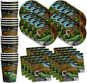 Reptile Lizard Snake Birthday Party Supplies Set Plates Napkins Cups Tableware Kit for 16