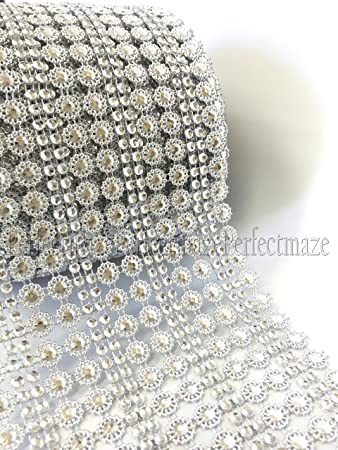 Perfectmaze 10 Yards 30 Feet Diamondflowerpearl Mesh Rhinestone Ribbon Wrap For Wedding Party