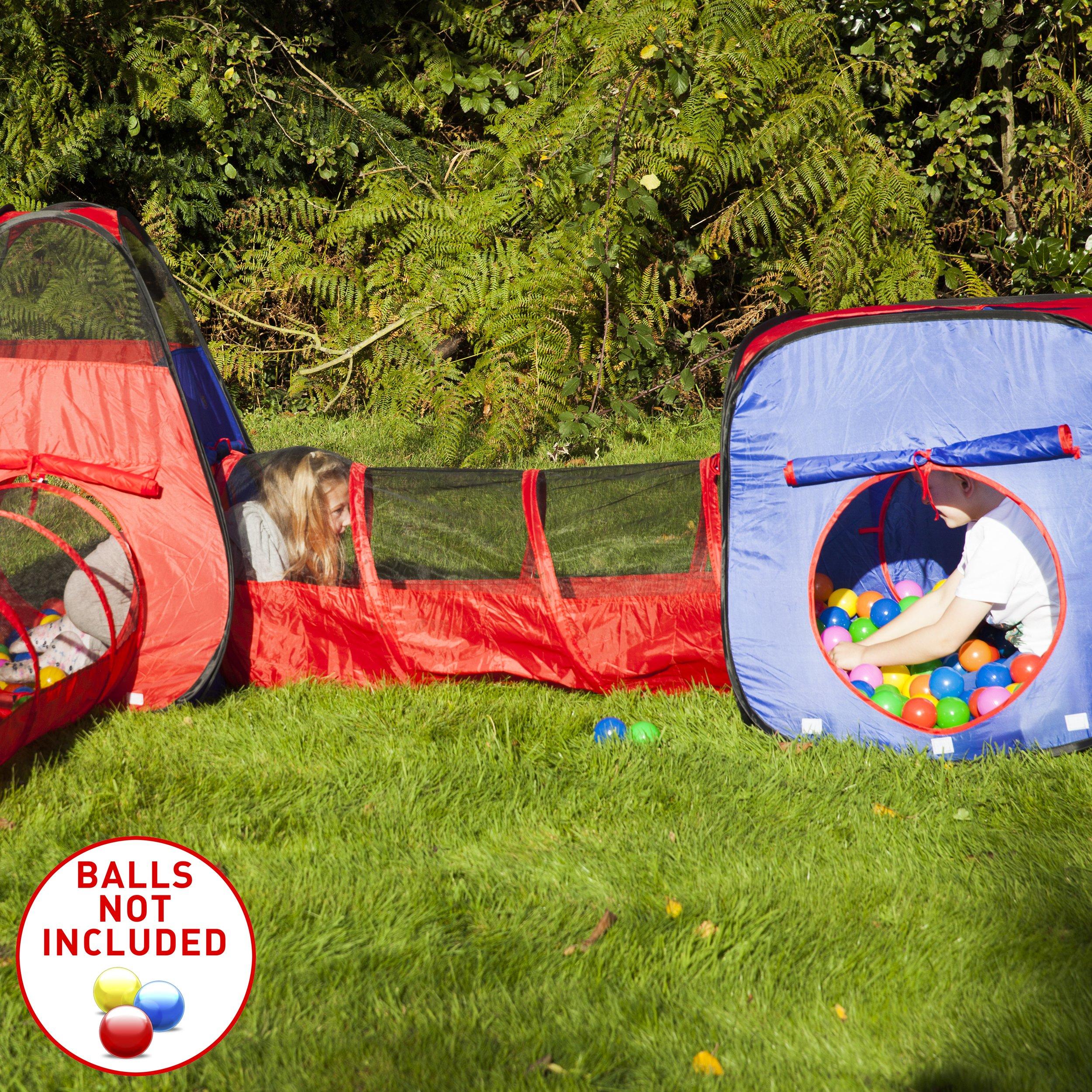 Kiddzery 4pc Kids Play Tent Pop Up Ball Pit 2 Tents 2