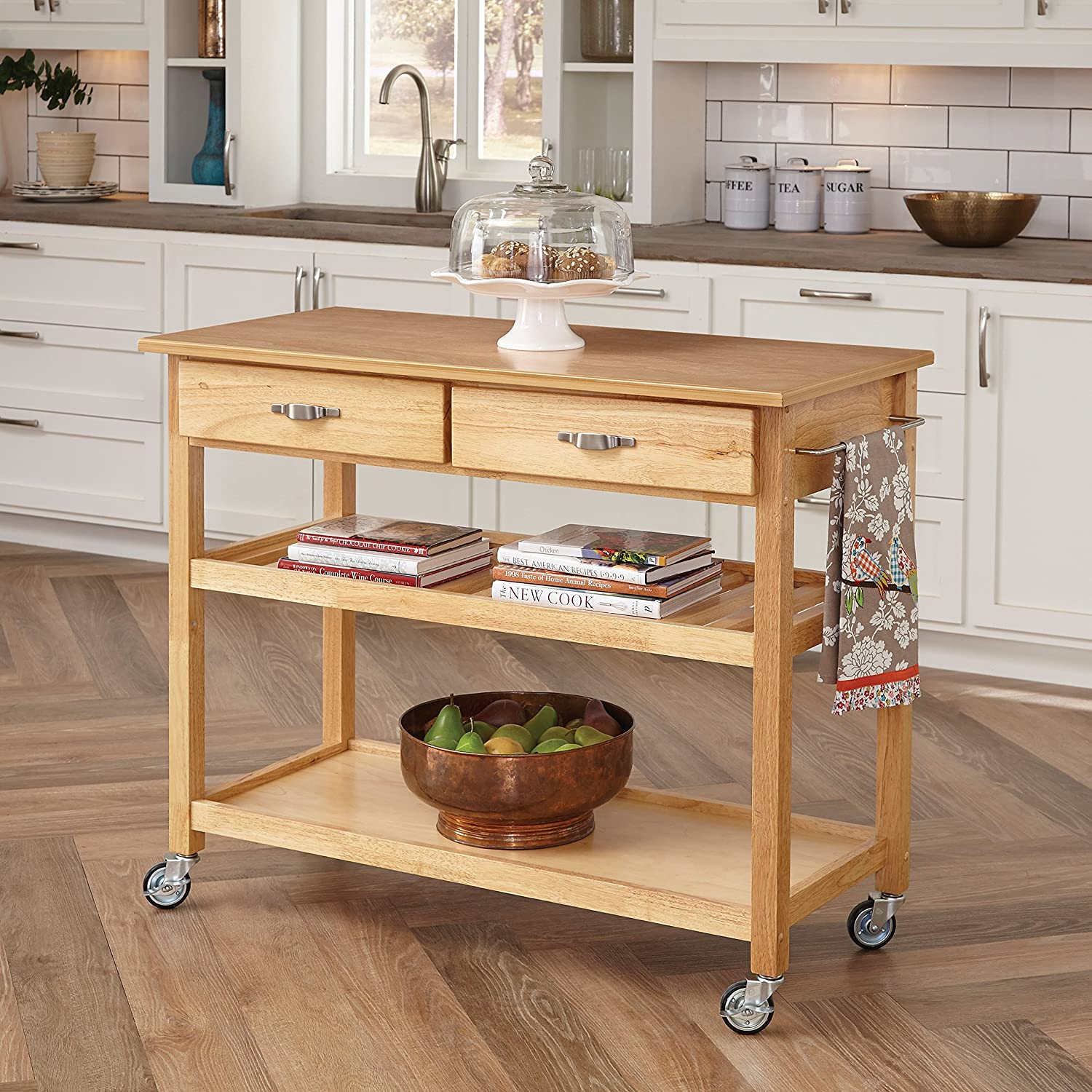 amazoncom home styles solid wood top kitchen cart natural finish bar u0026 serving carts