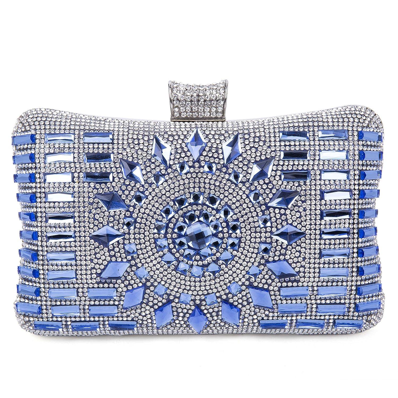 Handtasche Umhängetasche Damen Clutch Abendtasche mit Kette Damen Satin Strass , Blau 4552426